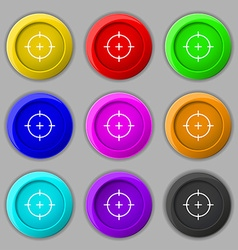Sight icon sign symbol on nine round colourful vector