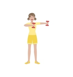 Woman doing upper arm exercise in gym vector