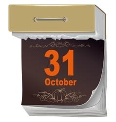 October 31 halloween black sheet tear off vector