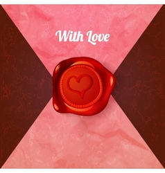 Card with letters and wax seal with heart vector