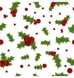Holly berry natural winter seamless pattern vector