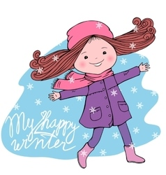 Happy girl with my happy winter inscription vector