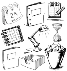 Collection of office objects vector