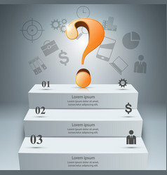3d digital infographic question icon vector