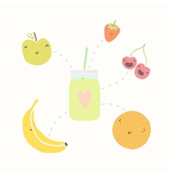 Jar with smoothie and funny fruits vector image