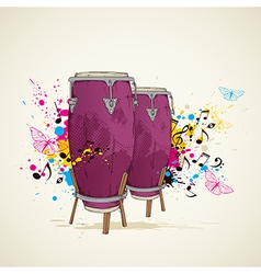 music background with drums vector image
