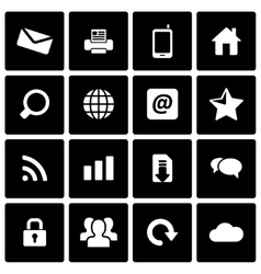 Black internet icon set vector