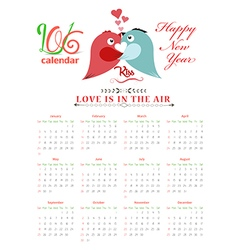 Calendar 2016 with birds kissing vector
