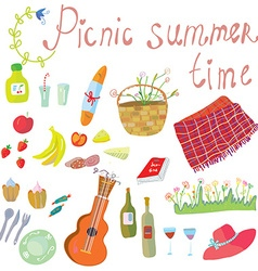 Picnic objects for romantic summer date vector