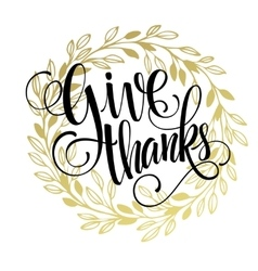 Thanksgiving - gold glittering lettering design vector image