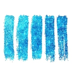 Blue shining glitter polish samples isolated on vector
