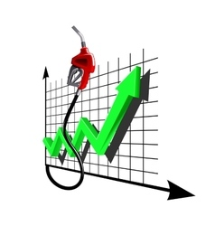 Chart of growth fuel prices with gas pump nozzle vector