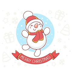 Standing full length snowman with red rib vector