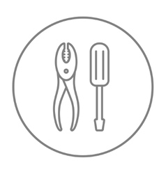 Screwdriver with pliers line icon vector