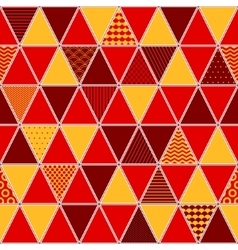Red and yellow patterned triangles geometric vector