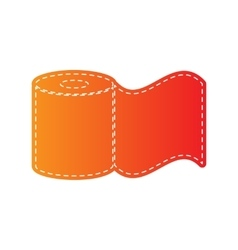Toilet paper sign orange applique isolated vector