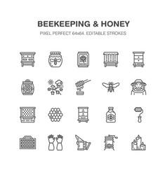 Beekeeping apiculture flat line icons beekeeper vector