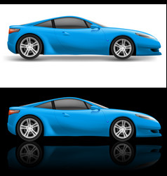 Blue sport car icon on white and black vector