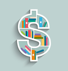 bookshelf in form of dollar sign with colorful vector image