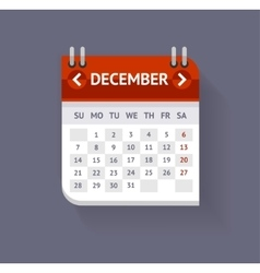 Calendar December Flat Design vector image