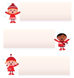 children with blank banners vector image vector image