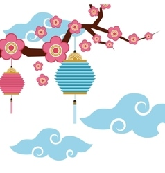 Chinese lanterns and flowers decoration vector