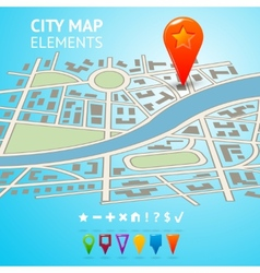 City map with navigation markers vector