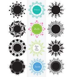 Collection of circle banners badge with flowers vector