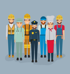 Color background with group of men of different vector