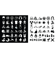 Construction and hazard warning icon collection vector image