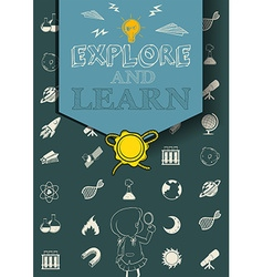 Educational poster with science symbols vector