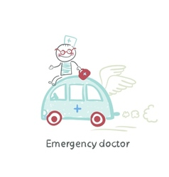 Emergency doctor travels by car vector image