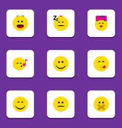 Flat icon emoji set of displeased caress joy and vector