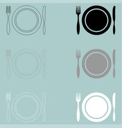 fork plate kitchen knife icon fork plate vector image