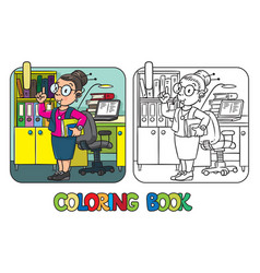 Funny translator or interpreter coloring book vector