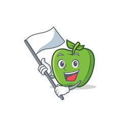 Green apple character cartoon with flag vector