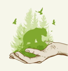 Green tree and bear in the hand vector