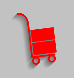 Hand truck sign red icon with soft shadow vector