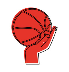 hand with basketball ball icon image vector image