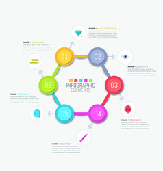 Hexagonal diagram with multicolored elements vector