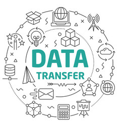 Line flat circle data transfer vector