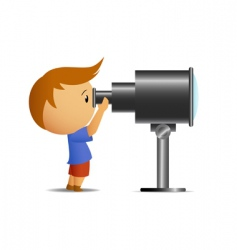 little boy looking in telescope vector image vector image