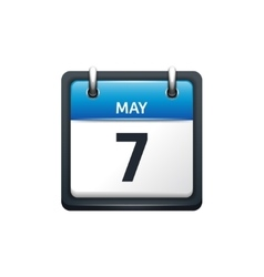 May 7 calendar icon flat vector