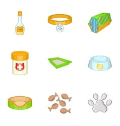 Pet veterinary clinic icons set cartoon style vector