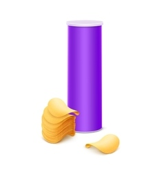 Purple tube with stack of potato chips vector