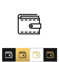 Purse or money wallet linear icon vector