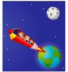 School children enjoying pencil rocket ride vector