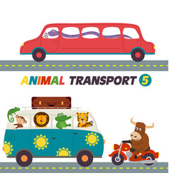 Set of isolated transports with animals part 5 vector