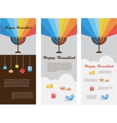set of three cards with hanukkah infographics vector image