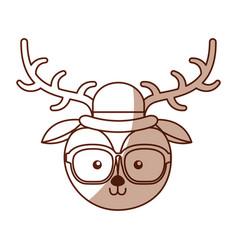 Shadow vintage deer face vector